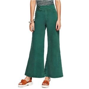 We The Free Youthquake Green Very Wide Leg Pants